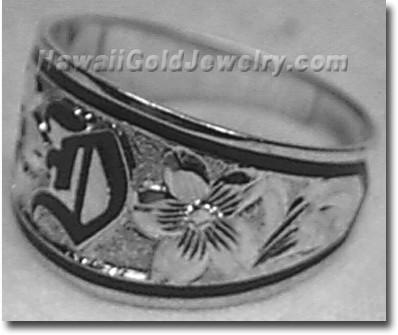 Hawaiian Tapered Ring Raised - Hawaii Gold Jewelry