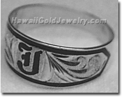 Hawaiian Tapered Ring with Regular Initials - Hawaii Gold Jewelry