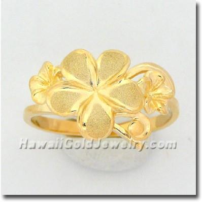 Hawaiian Triple Flower Ring - Hawaii Gold Jewelry