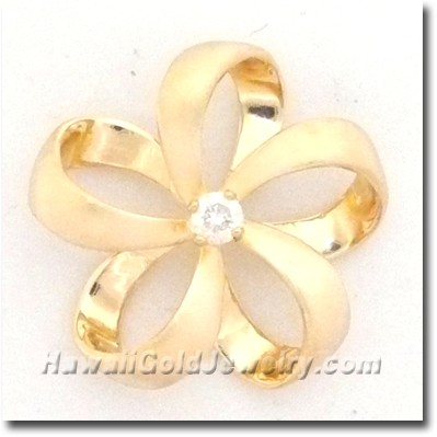 Hawaiian Ribbon Plumeria Pendant - Hawaii Gold Jewelry