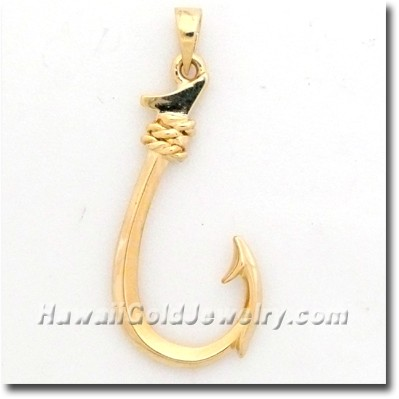 Hawaiian fish hook pendant hawaii gold jewelry for Fish hook charm