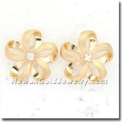 Hawaiian Ribbon Plumeria Earring - Hawaii Gold Jewelry