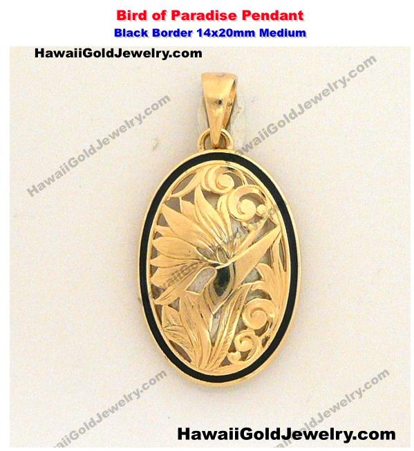 Hawaiian bird of paradise pendant black border 14x20mm medium hawaiian gold pendants product categories aloadofball Images