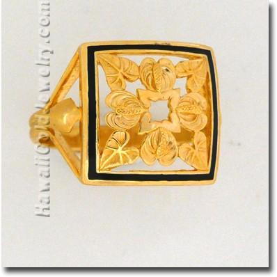 Anthurium Quilt リング  - ハワイ