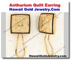 Hawaiian Anthurium Quilt Earring - Hawaii Gold Jewelry