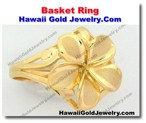 Hawaiian Basket Ring - Hawaii Gold Jewelry