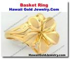 Hawaiian Basket Ring - Hawaii Gold Jewelry