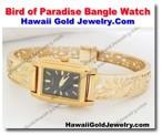 Hawaiian Bird of Paradise Bangle Watch - Hawaii Gold Jewelry