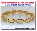 Hawaiian Bird of Paradise Link Bracelet - Hawaii Gold Jewelry