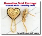 Hawaiian Gold Earrings - Hawaii Gold Jewelry