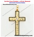 Cut-Out Cross Pendant Black Border w/10 pt. Diamond 20x30mm Medium - Hawaiian Gold Jewelry