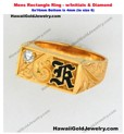 Mens Rectangle Ring w/Initials & Diamond 8x16mm Bottom is 4mm (to sz 8) - Hawaiian Gold Jewelry