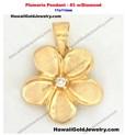Plumeria Pendant #3 w/Diamond 11x11mm  - Hawaiian Gold Jewelry