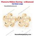 Plumeria Ribbon Earring w/Diamond 16x16mm Large - Hawaiian Gold Jewelry